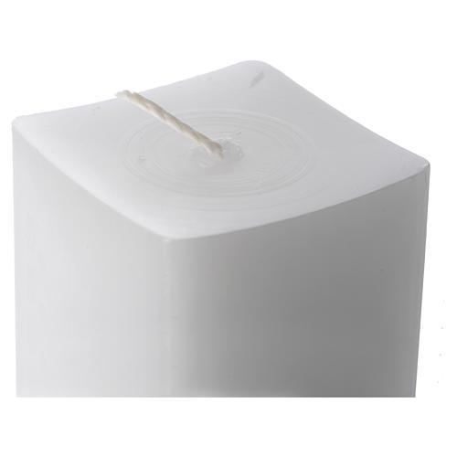 Candela bianca quadra 800x50x50 mm (confezione) 2