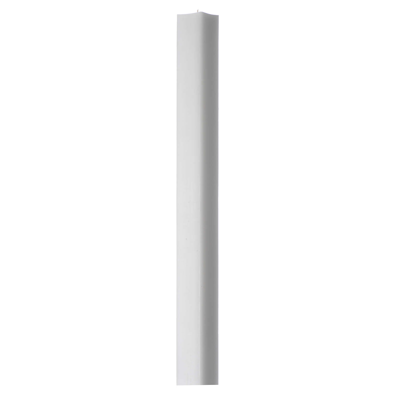 White square candle 800x50x50mm in white wax, pack of 6 3