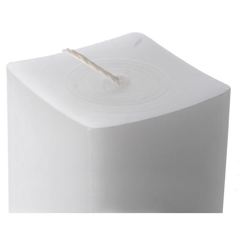 White square candle 800x50x50mm in white wax, pack of 6 2