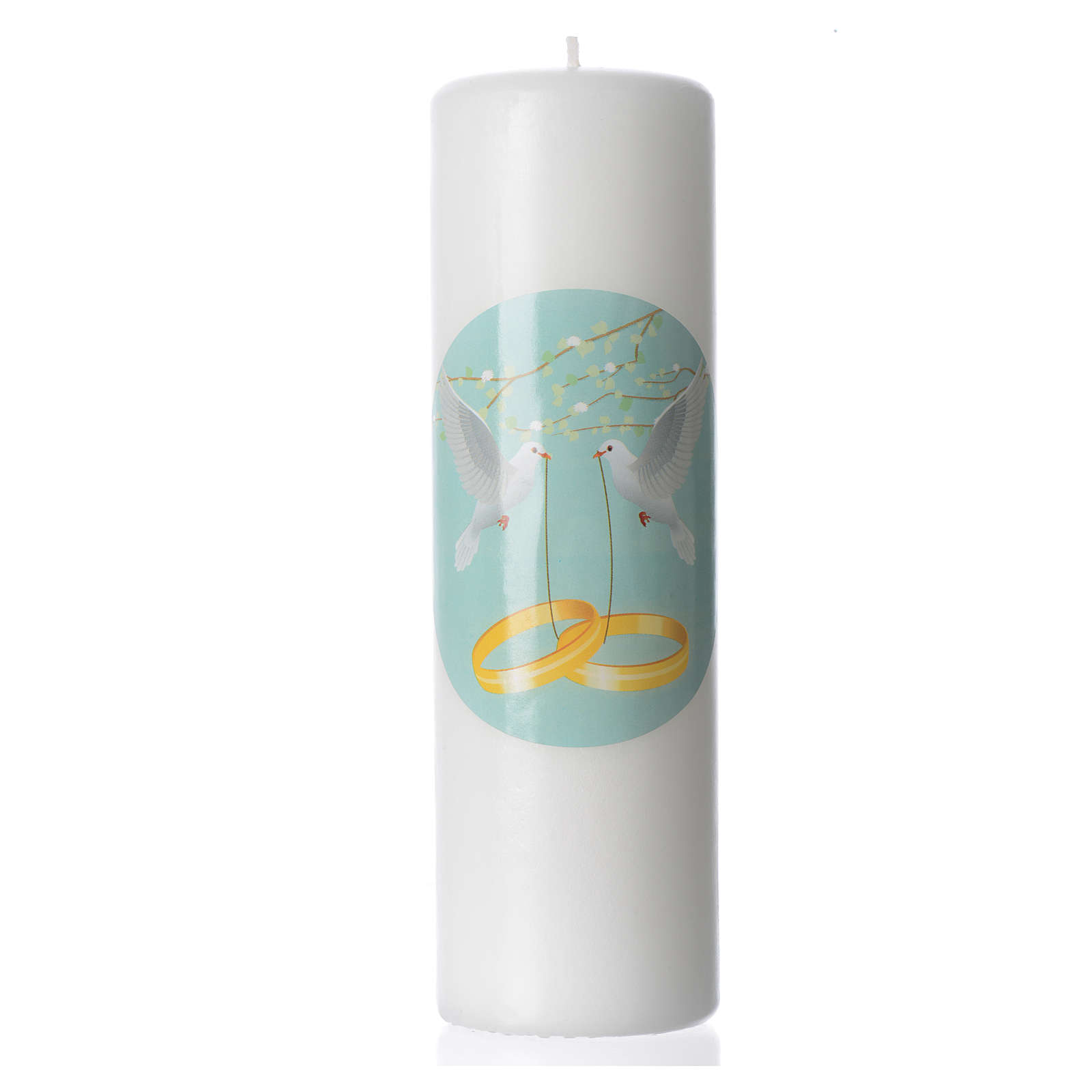 Wedding candle in white wax with small image 3
