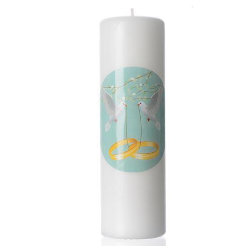 Świeca z wosku białego na ślub zdobiona 1