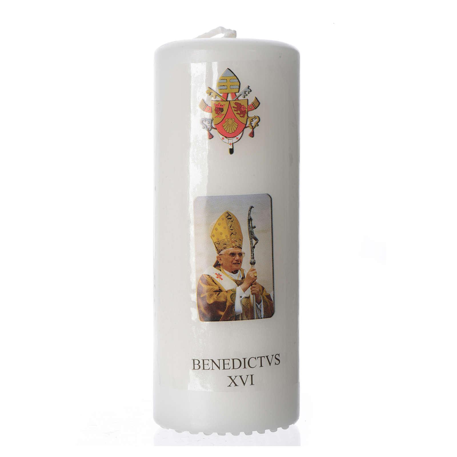 Candelotto Benedetto XVI 13x6 cm bianco 3