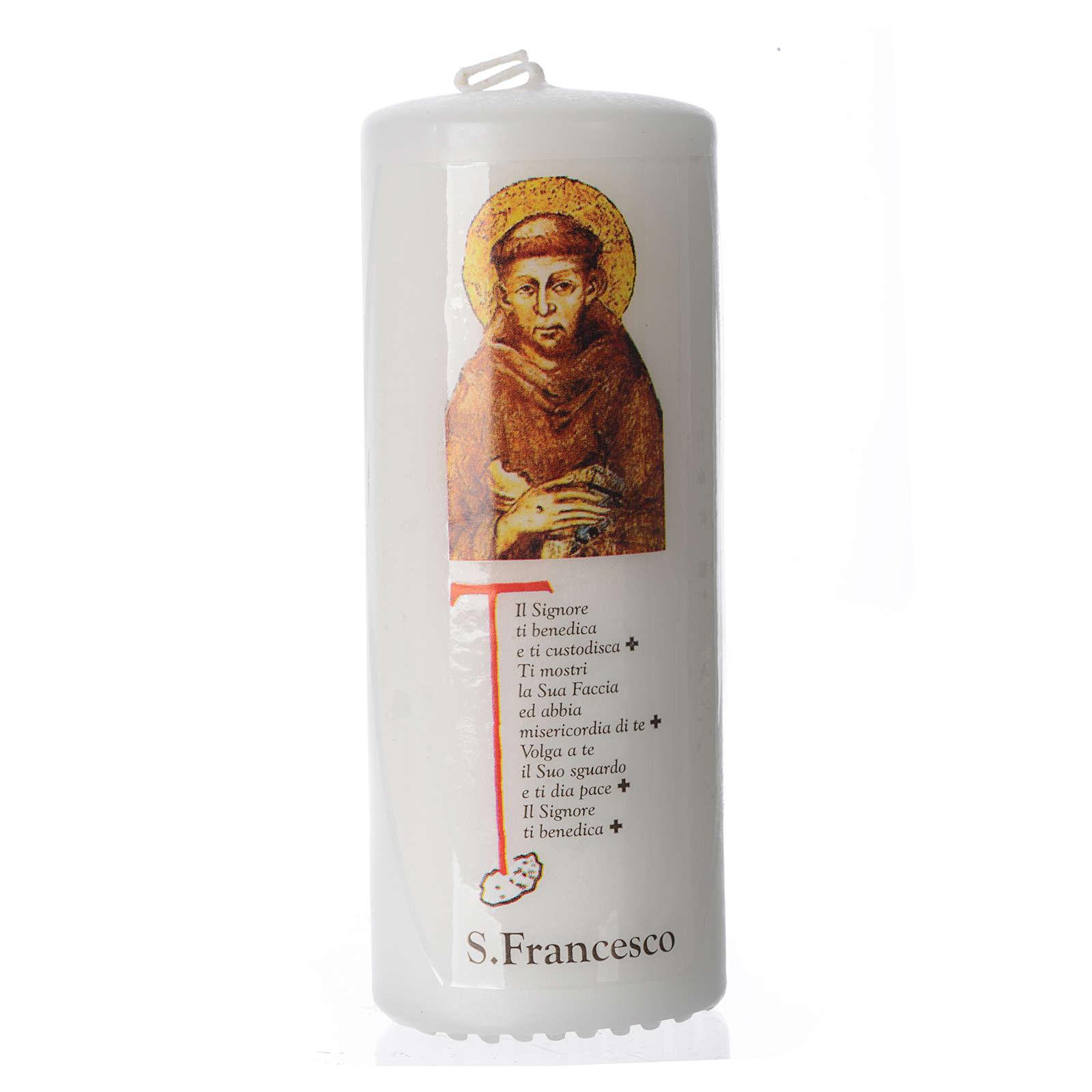 Candelotto San Francesco d'Assisi 13x6 cm bianco 3