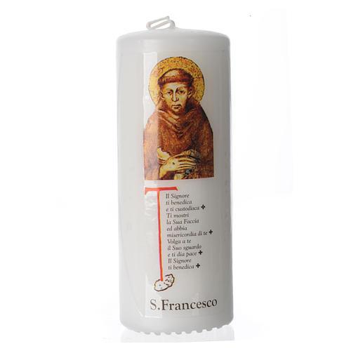Candelotto San Francesco d'Assisi 13x6 cm bianco 1