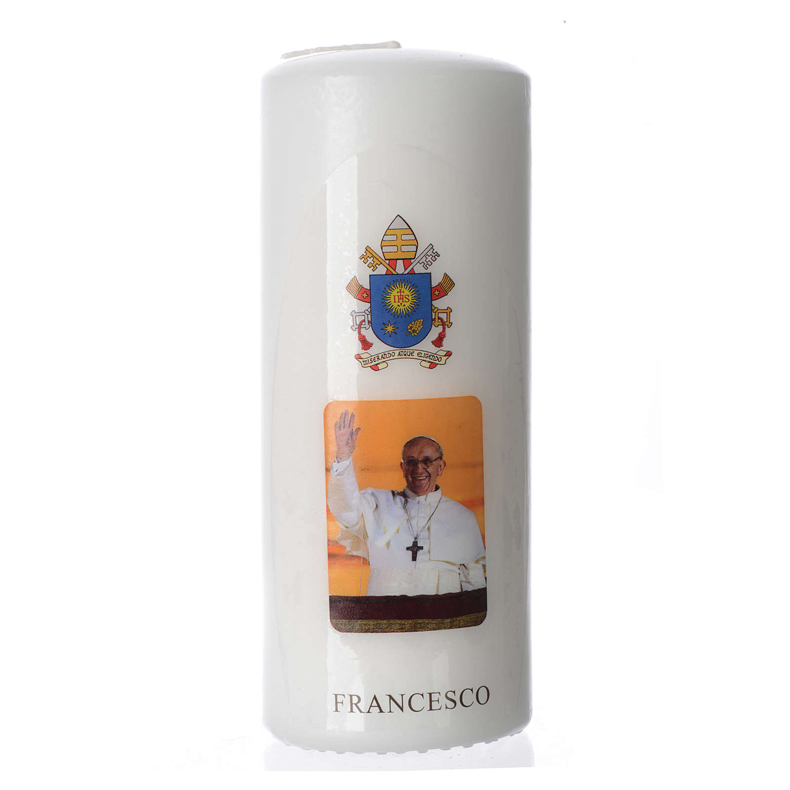 Candela Papa Francesco 15x6 cm bianco 3