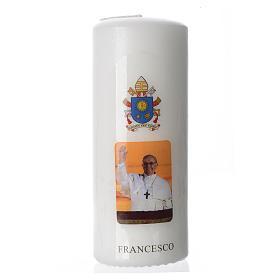 Candela Papa Francesco 15x6 cm bianco s1