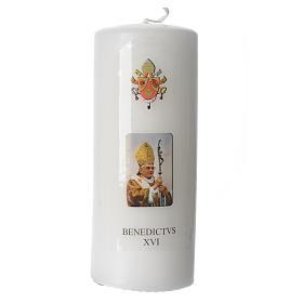 Candela Papa Benedetto XVI 15x6 cm bianco s1