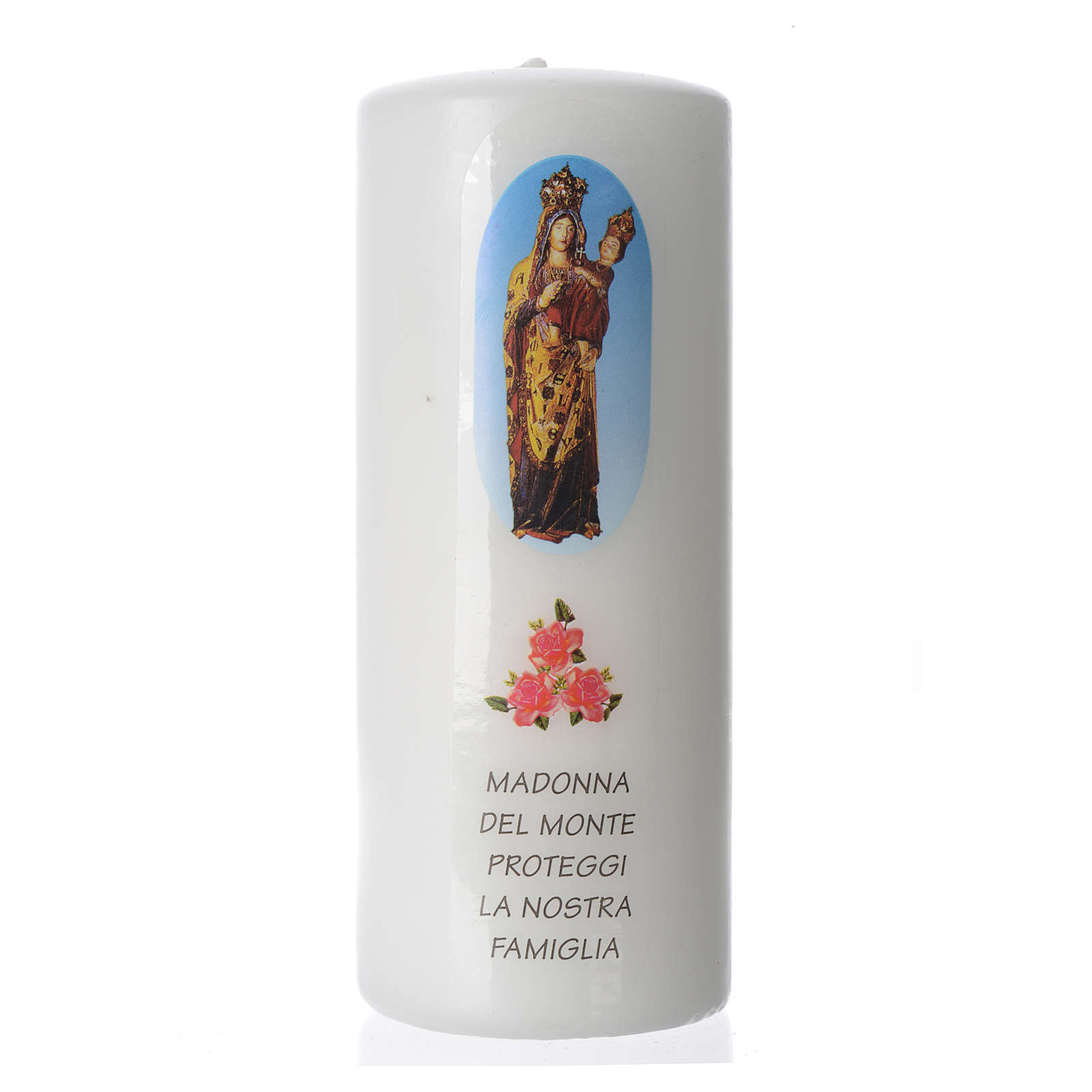 Our Lady of the Mountain white candle, 15x6cm 3