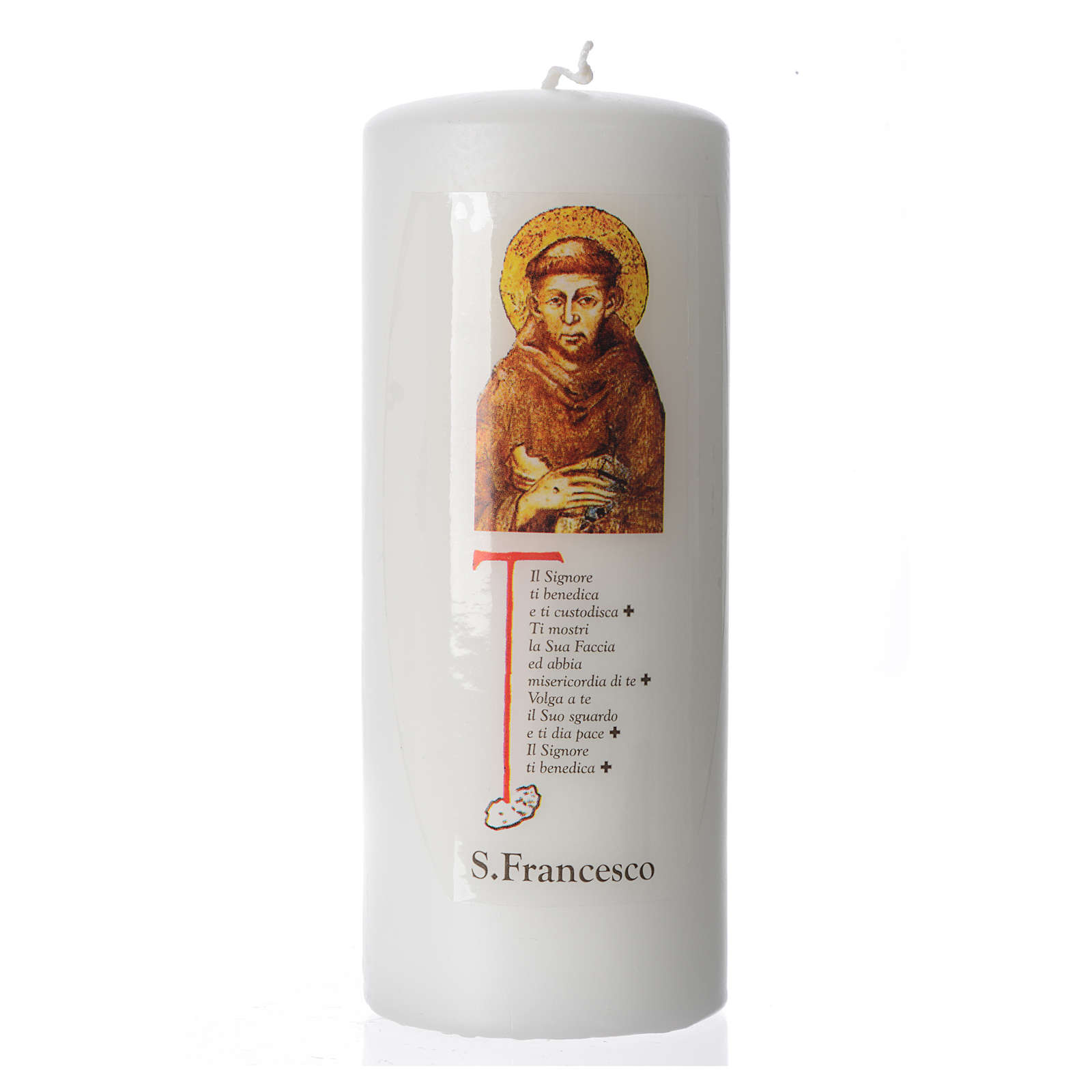 Candela San Francesco d'Assisi 15x6 cm bianco 3