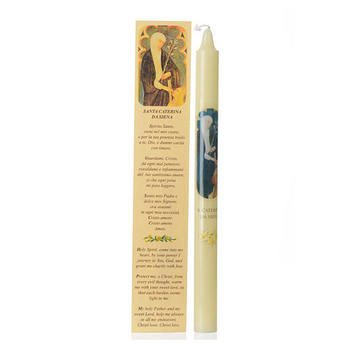 Saint Catherine of Siena thin candle with case 1
