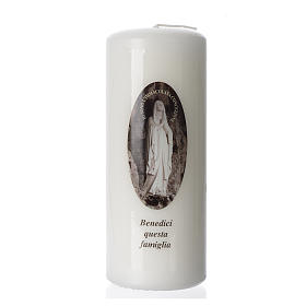 Our Lady of Lourdes white candle 15x6cm s1