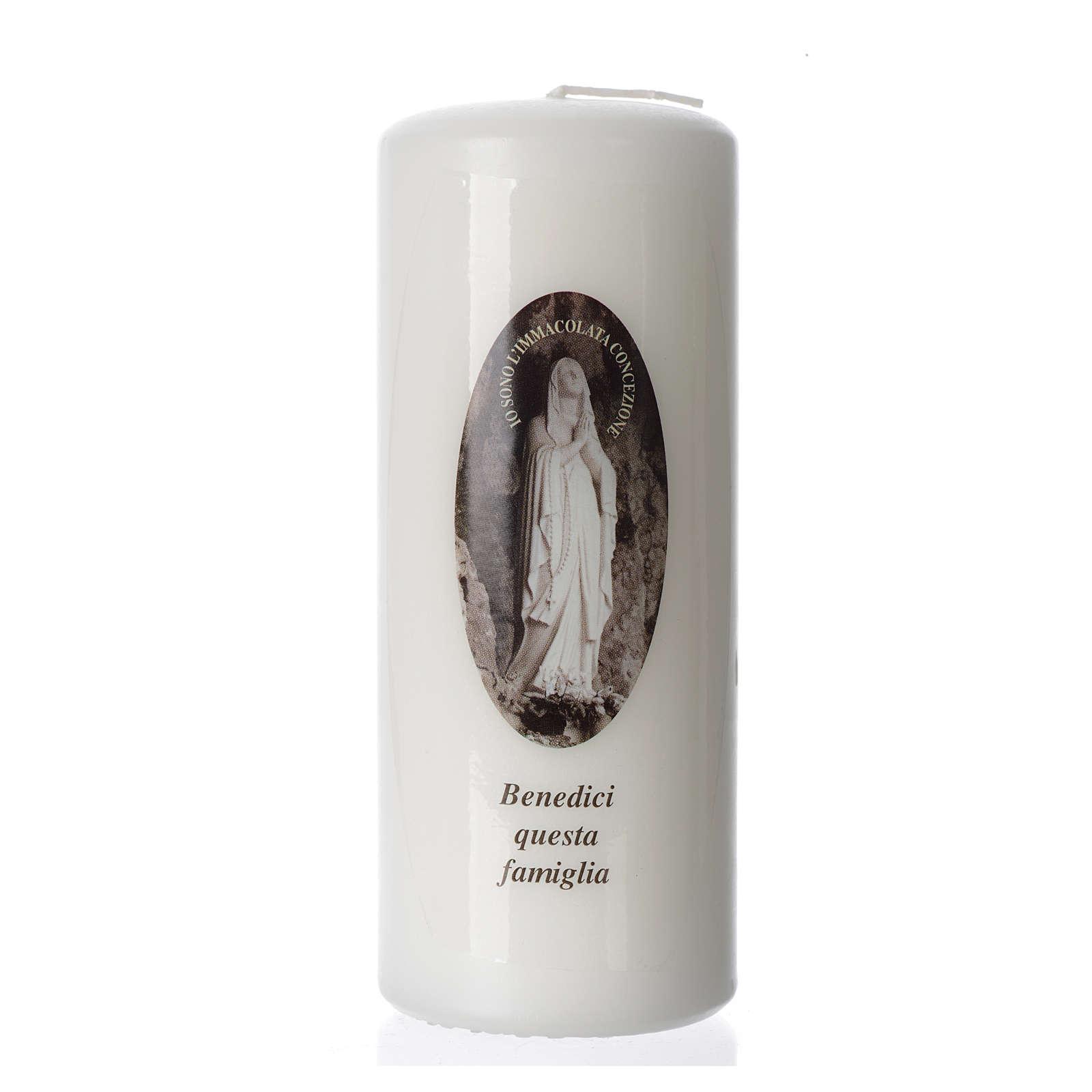 Vela Virgen de Lourdes 15x6 cm blanca 3