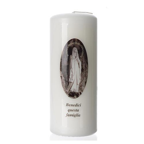Vela Virgen de Lourdes 15x6 cm blanca 1