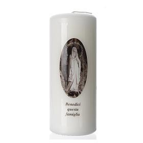 Bougies, cierges, chandelles: Bougie Notre-Dame de Lourdes 15x6cm blanc