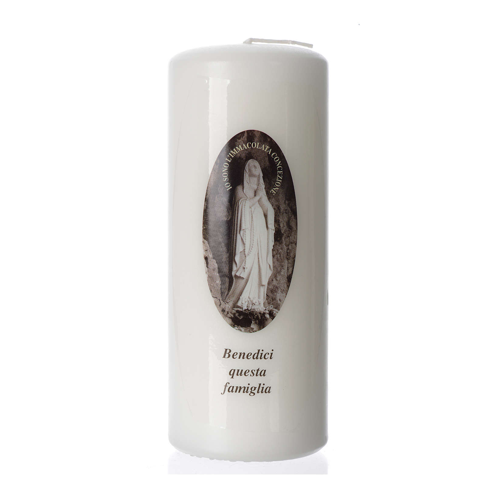 Our Lady of Lourdes white candle 15x6cm 3
