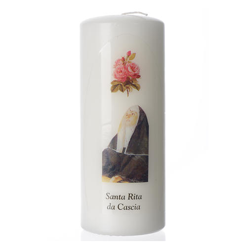 Saint Rita of Cascia white candle 15x6cm 1