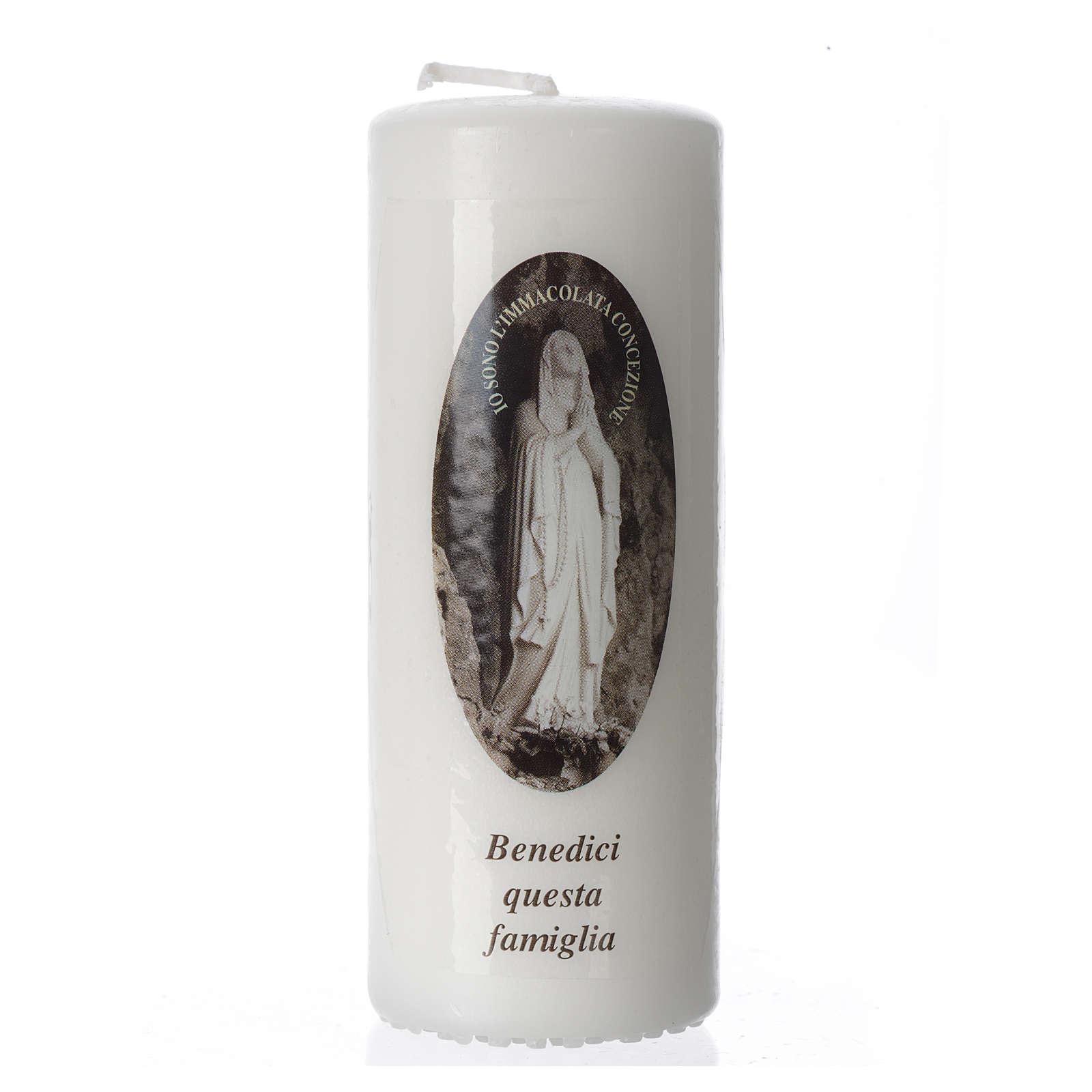 Candelotto Madonna di Lourdes 13x6 cm bianco 3