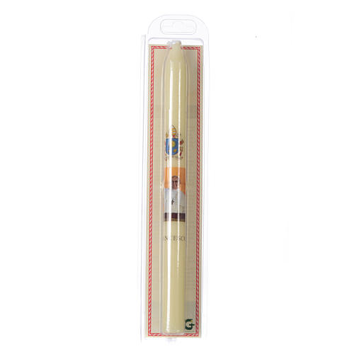Pope Francis thin candle with case 2