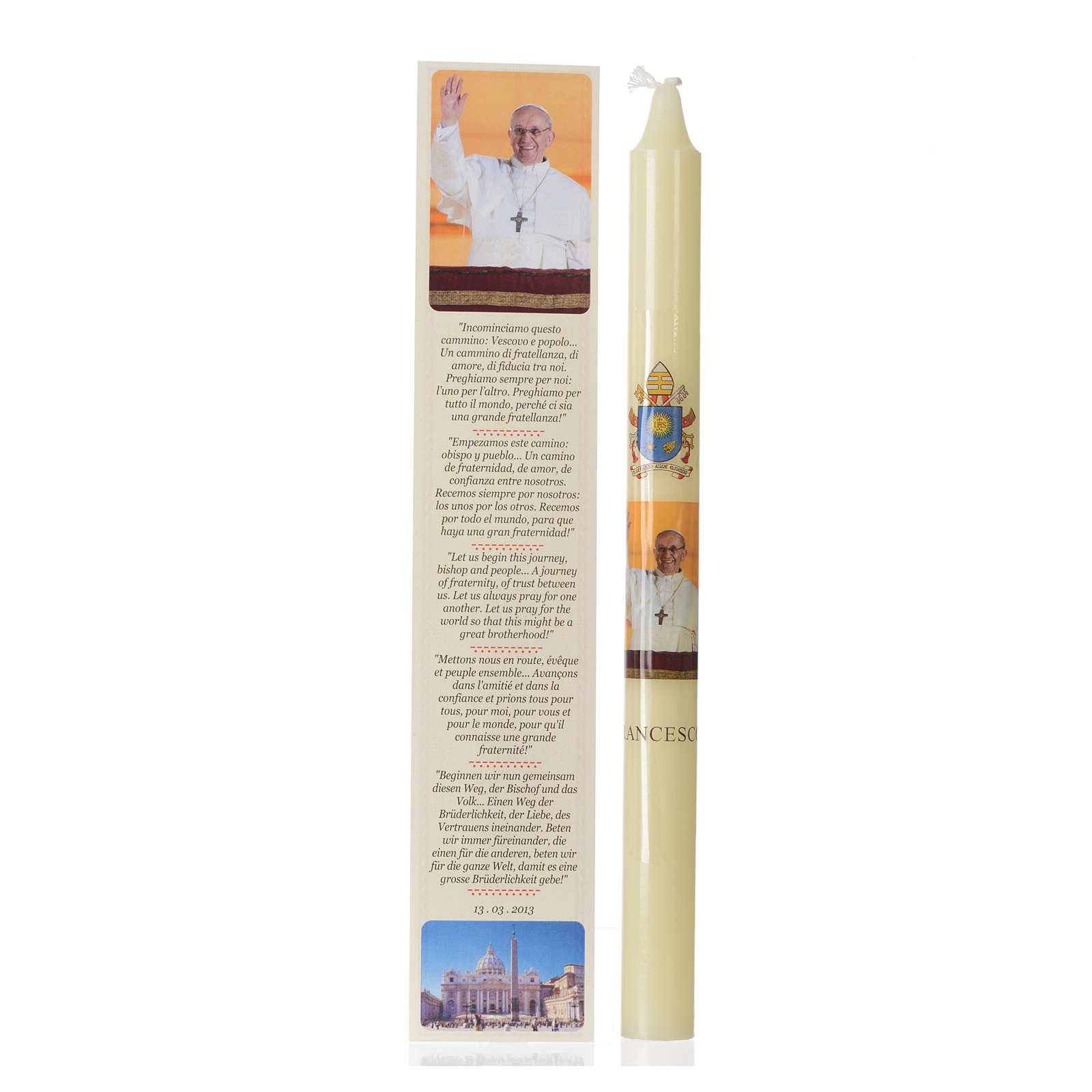 Pope Francis thin candle with case 3