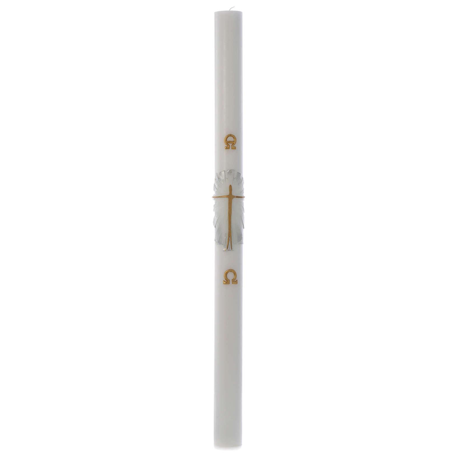 Cierge Pascal cire blanche Christ Ressuscité fond blanc argent 8x120cm 3