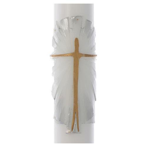 Cierge Pascal cire blanche Christ Ressuscité fond blanc argent 8x120cm 2