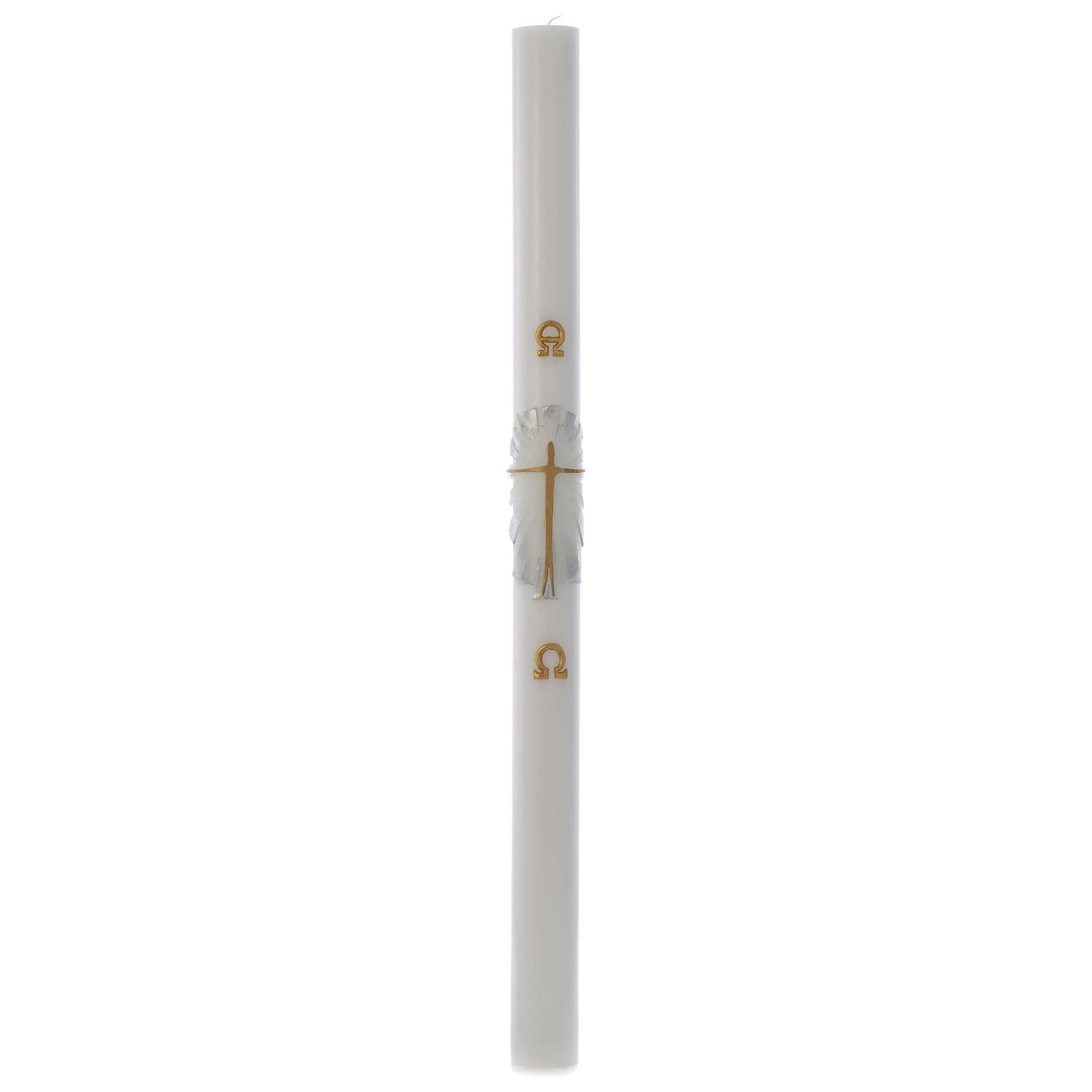 Cero pasquale cera bianca Risorto fondo bianco argento 8x120 cm 3