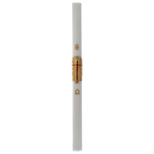 Cierge pascal cire blanche Christ Ressuscité fond or 8x120cm 3