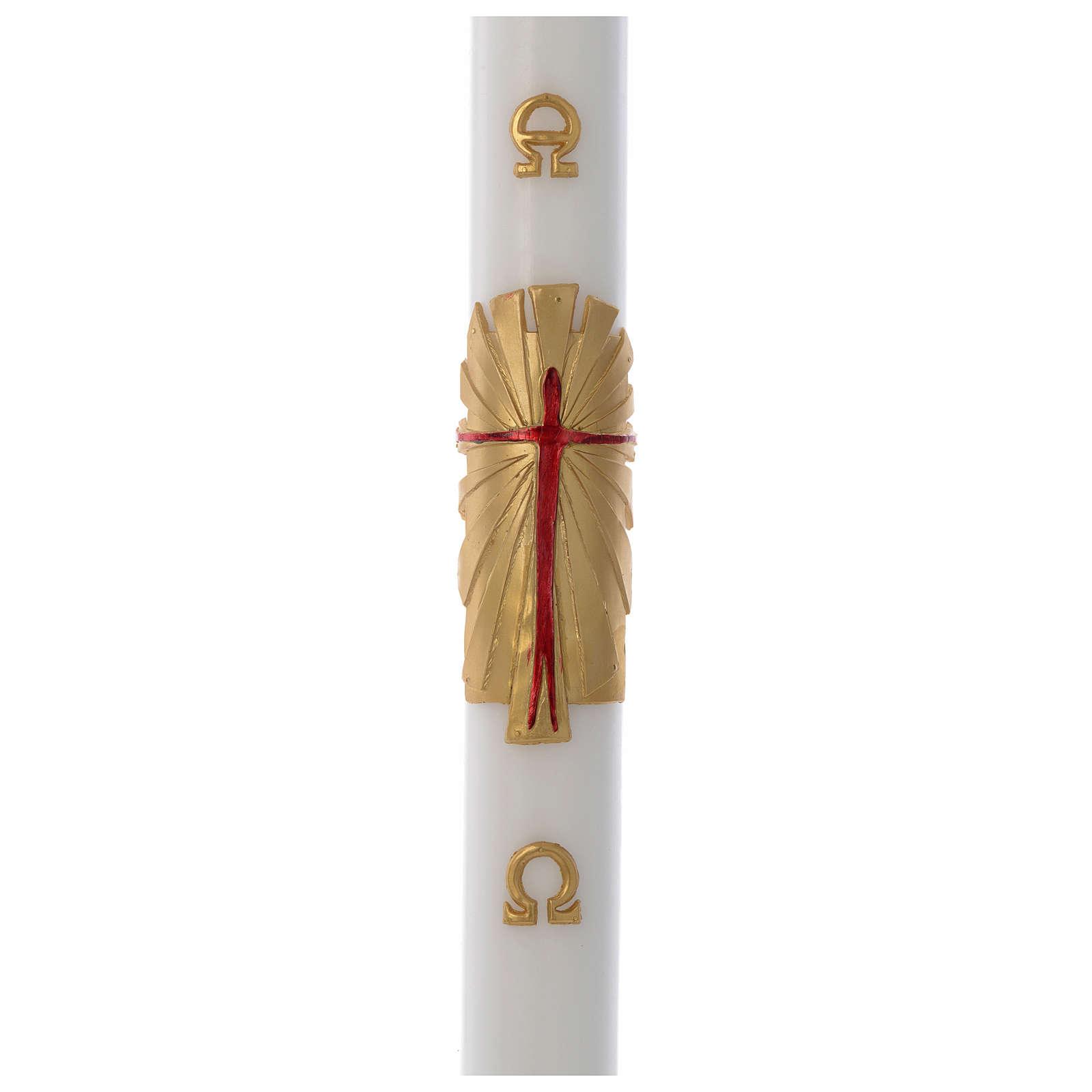 Cero pasquale cera bianca Risorto fondo oro 8x120 cm 3