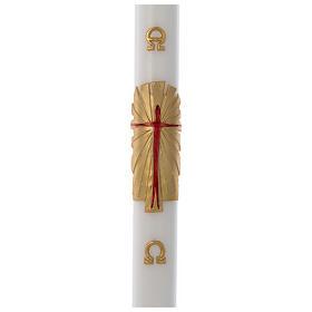 Cero pasquale cera bianca Risorto fondo oro 8x120 cm s1