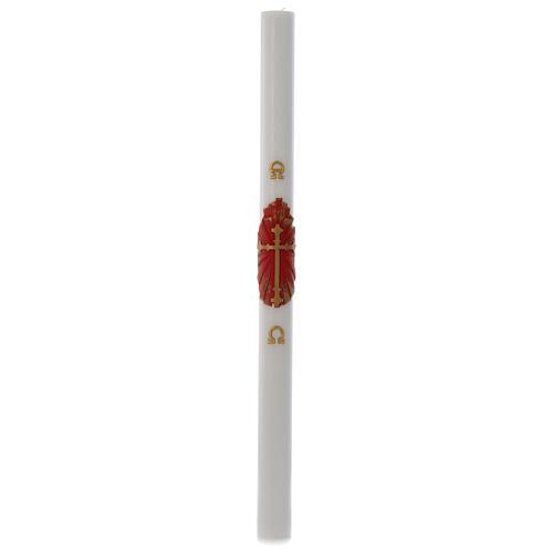 Cero pasquale cera bianca bianco Croce Antica 8x120 cm 3