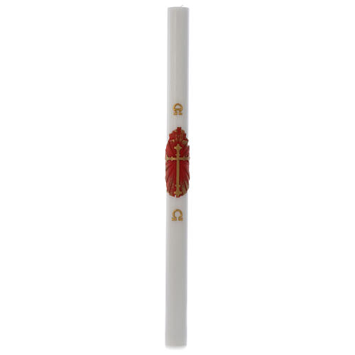 Paschal candle in white wax with antique cross 8x120cm 3