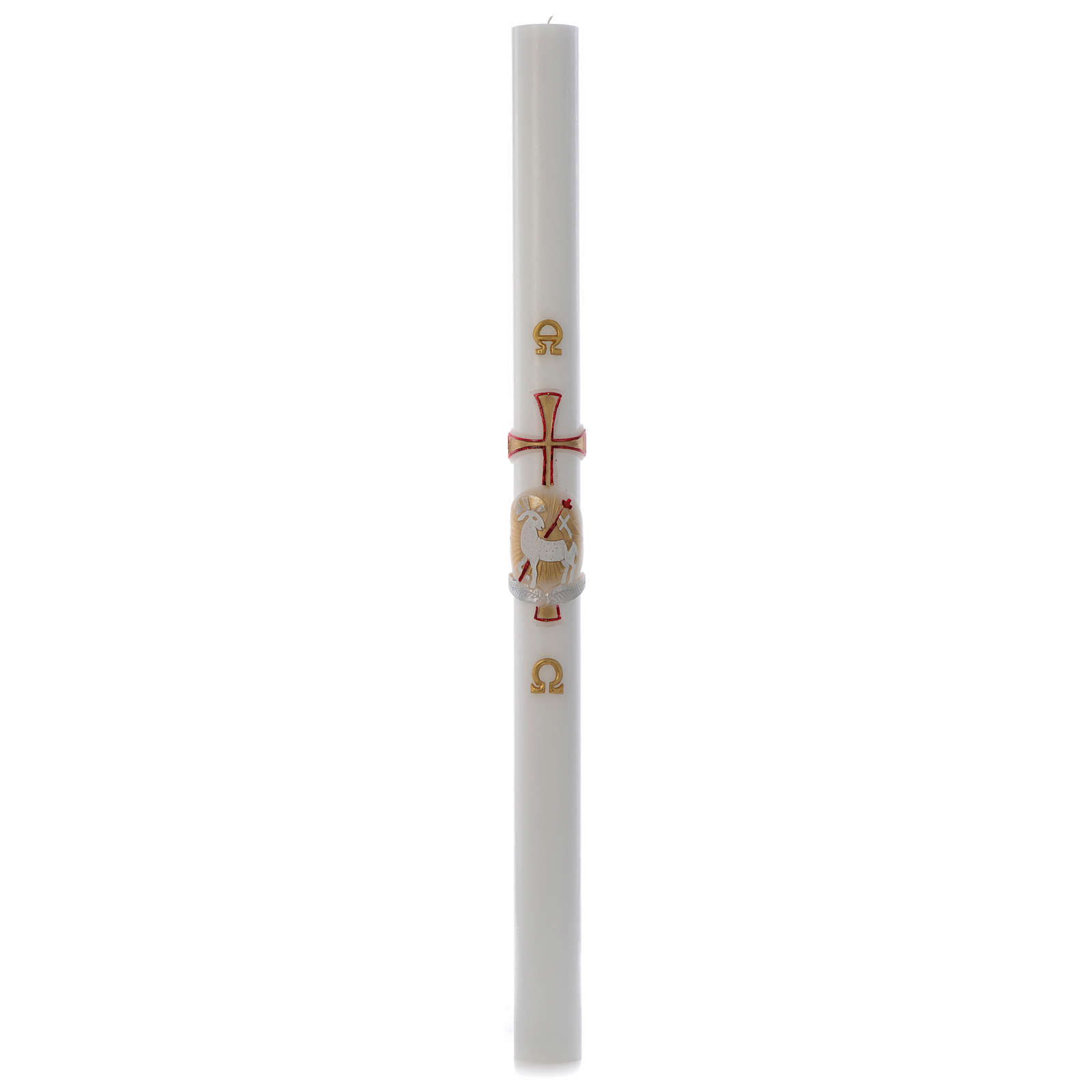 Paschal candle in white wax with gold and red lamb and cross 8x120cm 3
