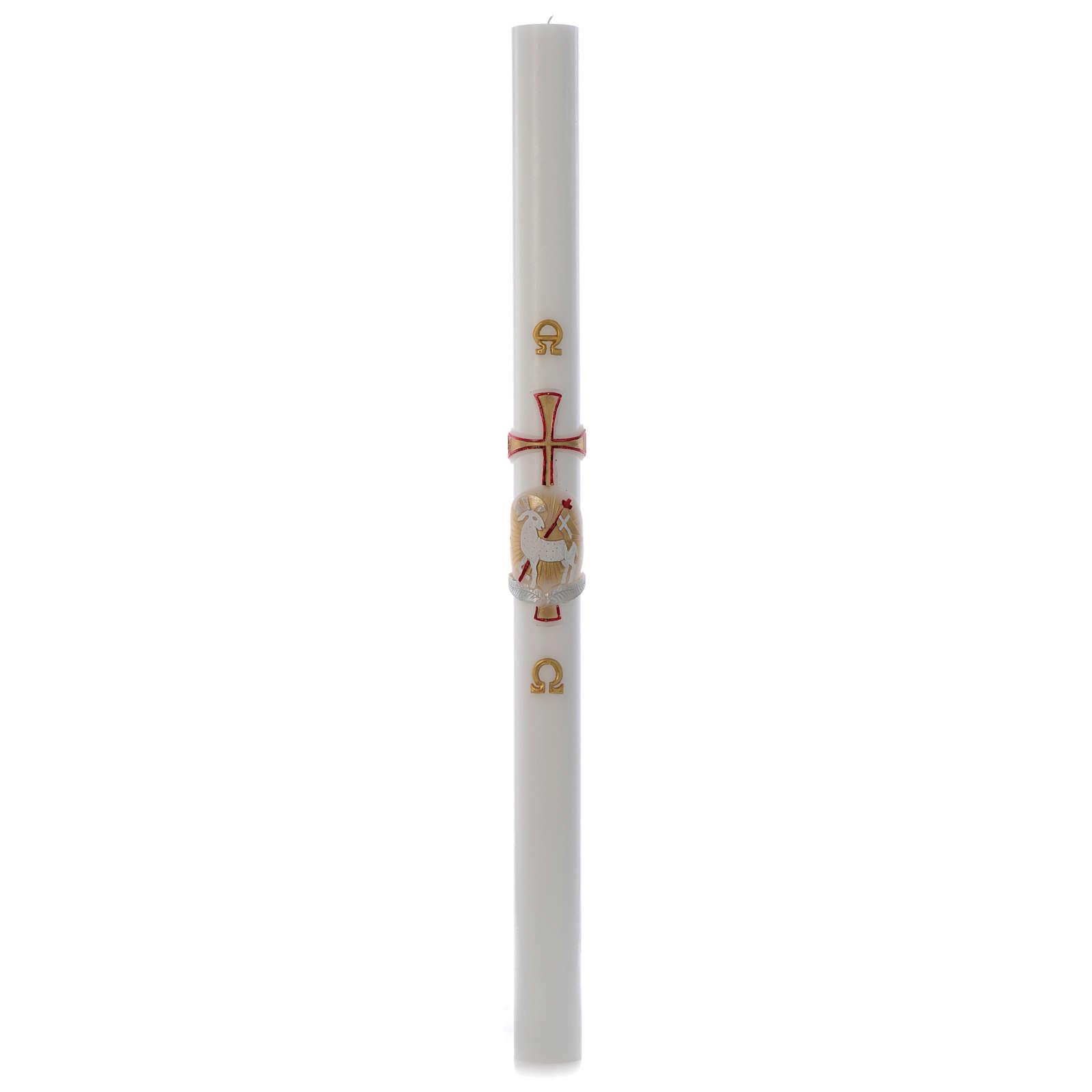 Cierge pascal blanc Agneau or et rouge croix 8x120cm 3