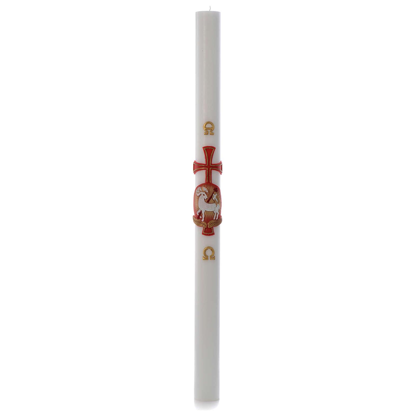 Cierge pascal Agneau croix cire blanche 8x120cm 3