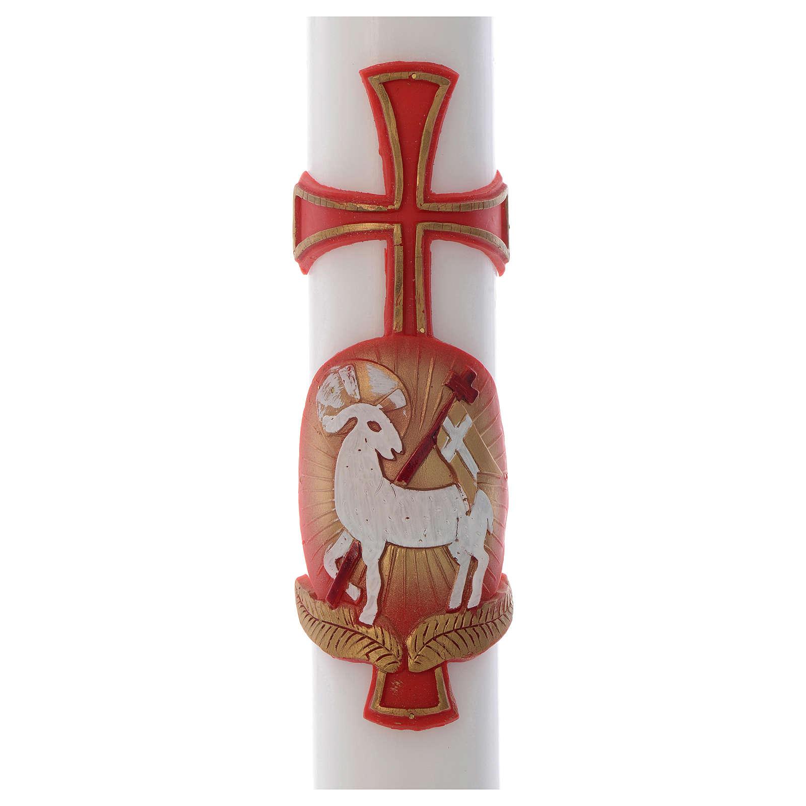 Cero pasquale Agnello croce cera bianca 8x120 cm 3