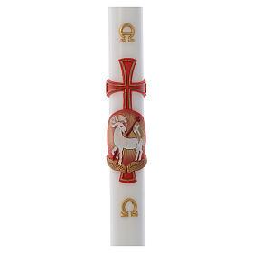 Cero pasquale Agnello croce cera bianca 8x120 cm s1