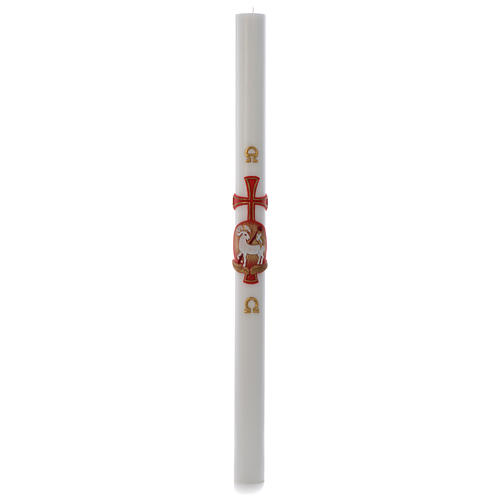 Paschal candle in white wax with lamb and cross 8x120cm 3