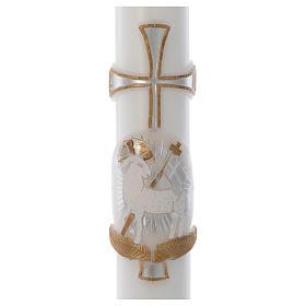 Cierge pascal Agneau croix argent cire blanche 8x120cm s2
