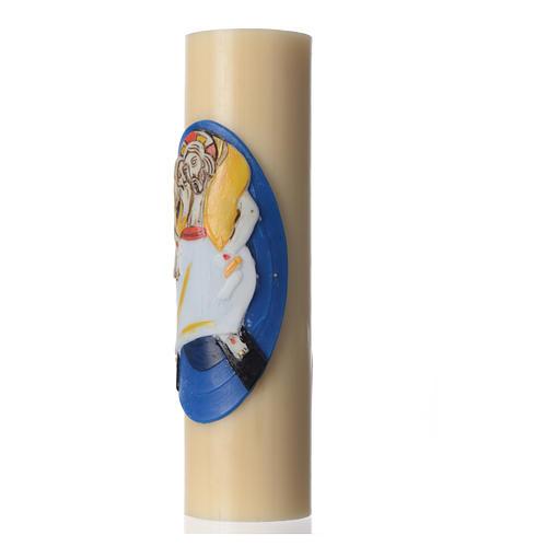 STOCK Vela de Altar Logo Jubileo de la Misericordia, cera de abeja, diám 8 cm 2