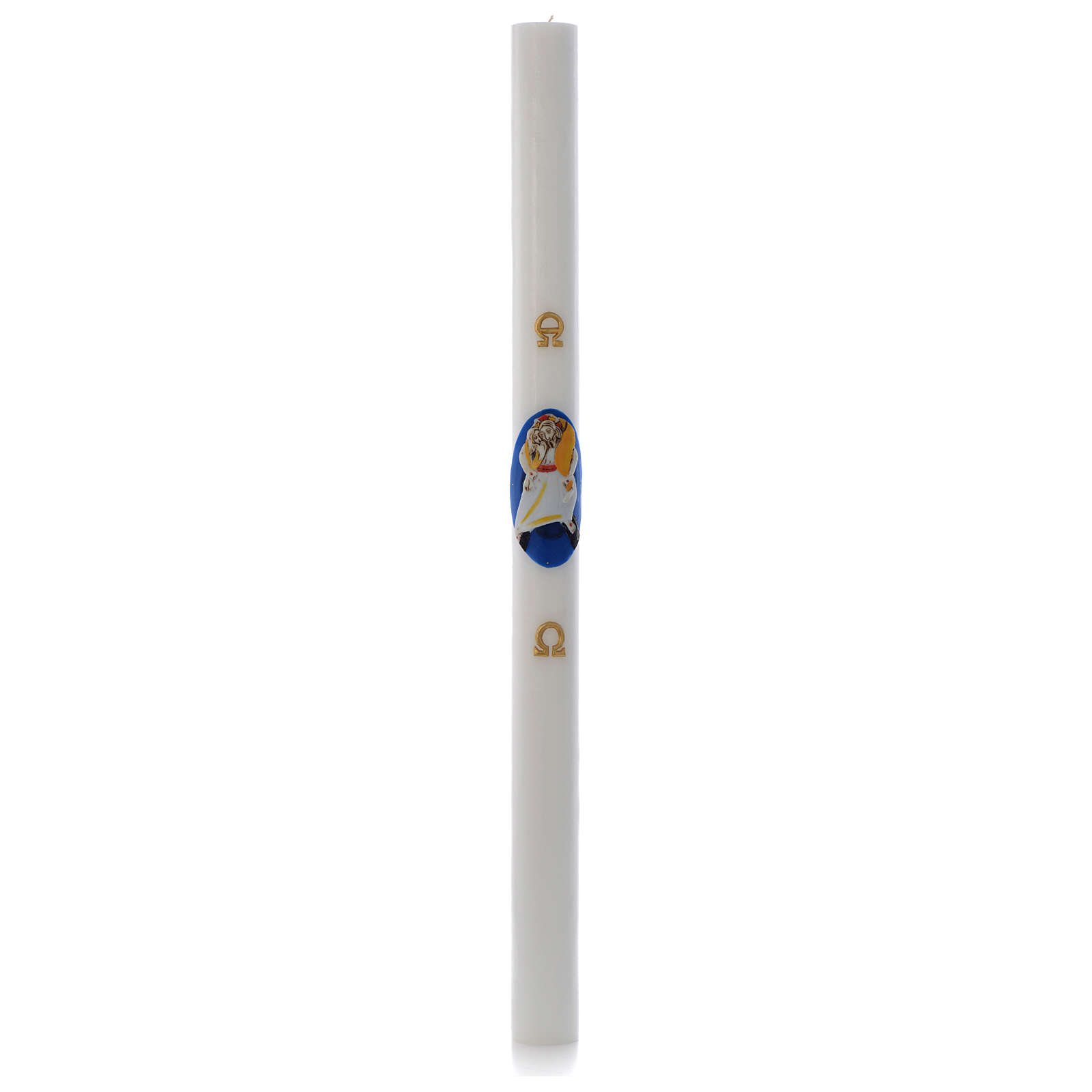 STOCK Paschal Candle Logo Jubilee of Mercy white wax 8x120cm 3