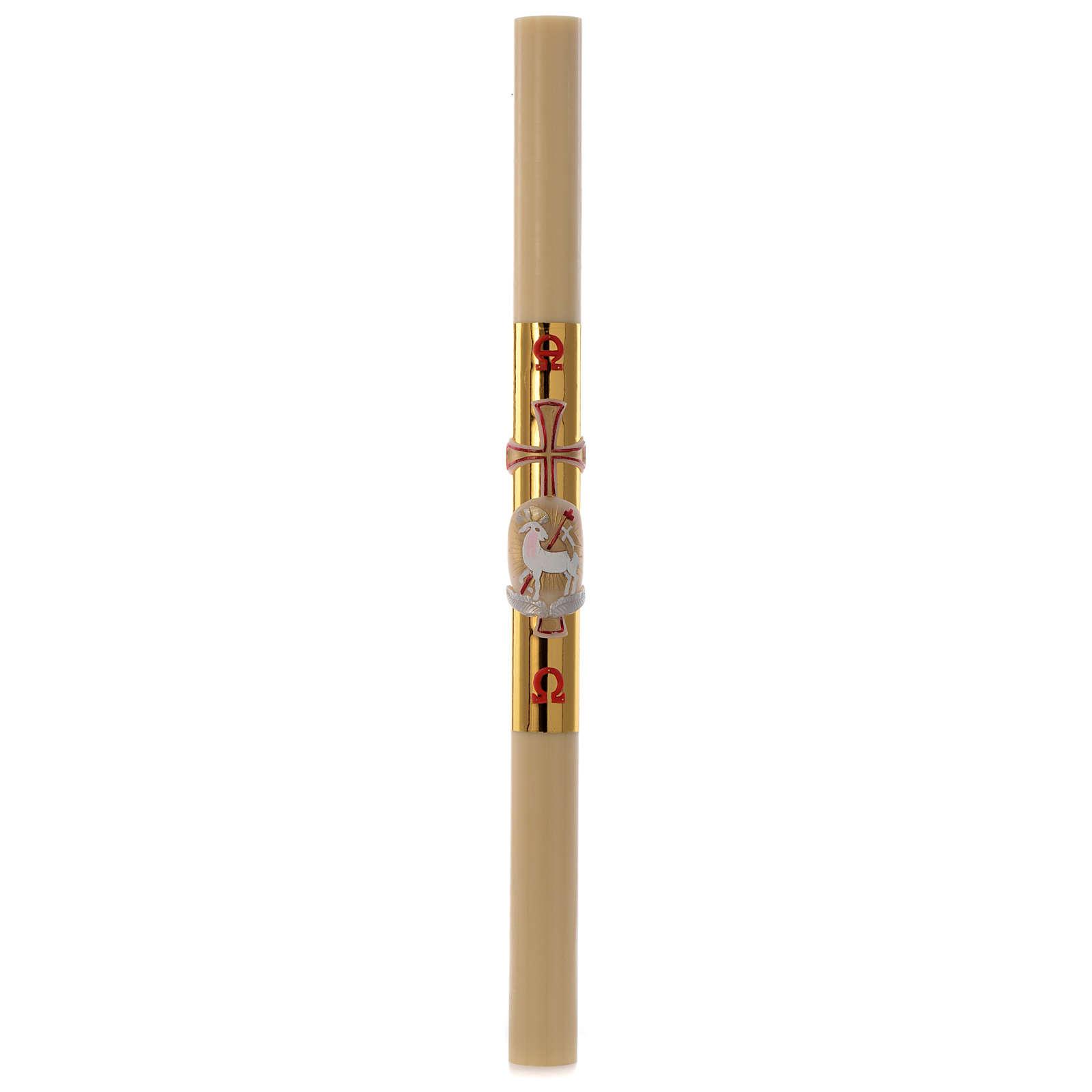 Cirio Pascual cera de abeja cordero y cruz fundo dorado 8x120 cm 3