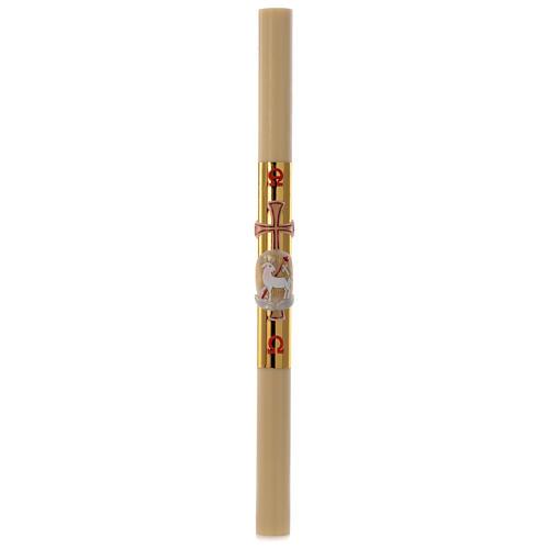 Cierge pascal cire abeilles Agneau croix fond or 8x120cm 3