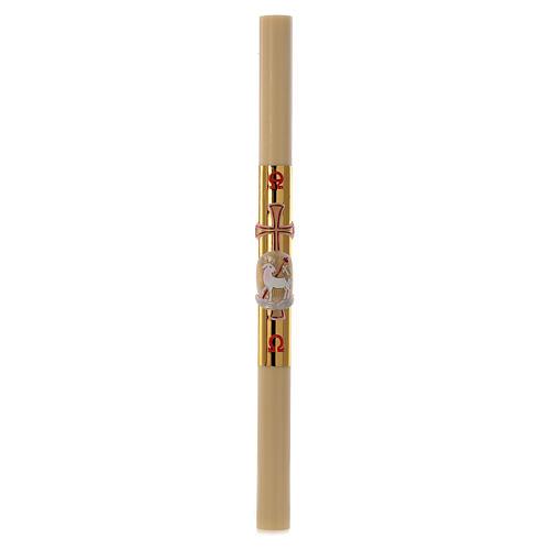 Cero pasquale cera api Agnello croce fondo oro 8x120 cm 3