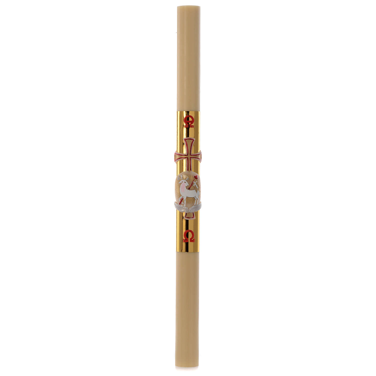 Paschal candle in beeswax with lamb and golden cross 8x120cm 3