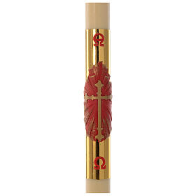 Paschal candle in beeswax with red and golden cross 8x120cm s1