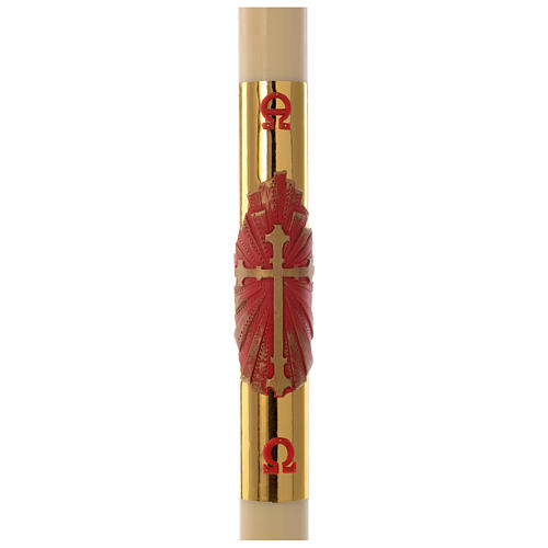 Paschal candle in beeswax with red and golden cross 8x120cm 1