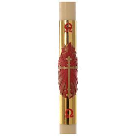Bougies, cierges, chandelles: Cierge pascal cire abeilles Croix rouge fond or 8x120cm