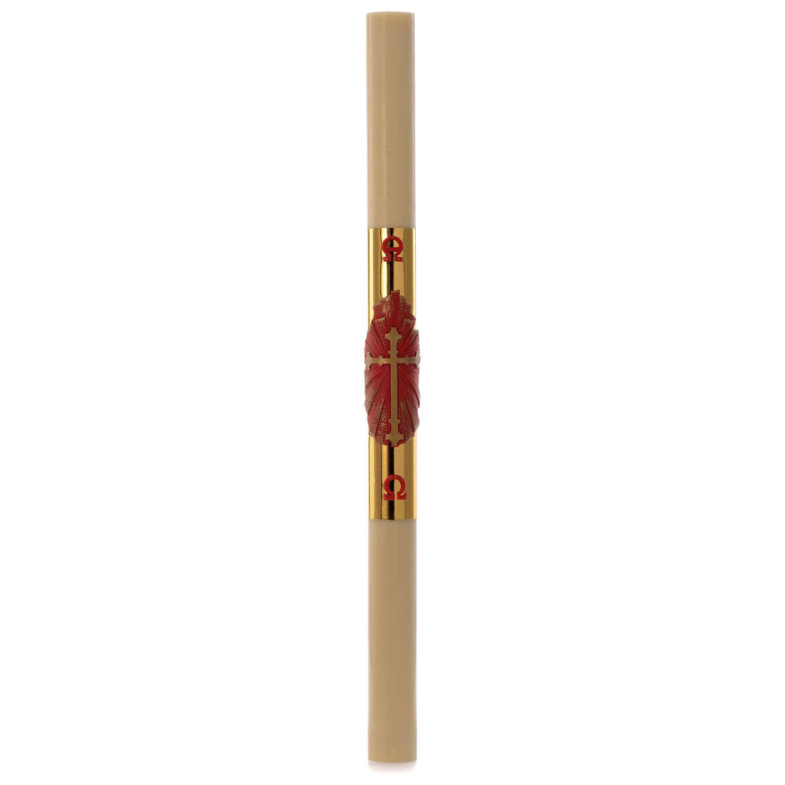 Cero pasquale cera api Croce rossa fondo oro 8x120 cm 3