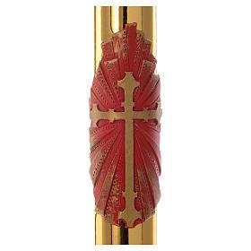 Cero pasquale cera api Croce rossa fondo oro 8x120 cm s2