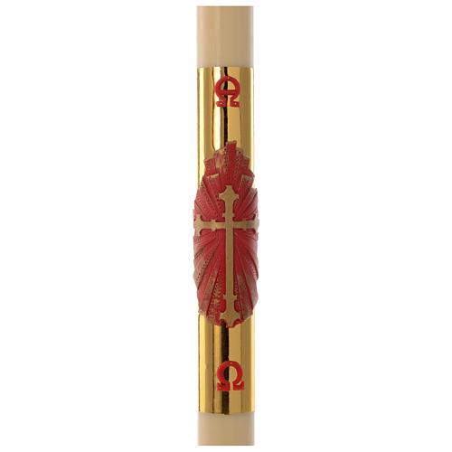 Cero pasquale cera api Croce rossa fondo oro 8x120 cm 1
